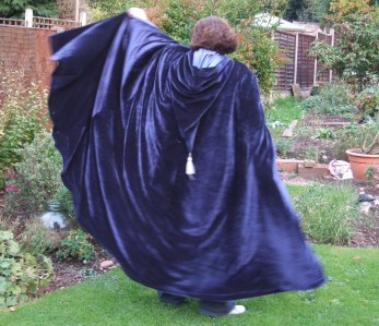 blue velvet cloak, blue lining, pixie hood with tassle
